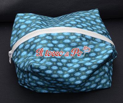 Beauty case, pochette, porta tutto in stoffa con cerniera fantasia azzurra verde