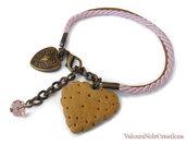 bracciale biscotto e cuore cordini rosa caramel vintage