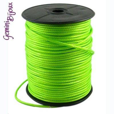 Lotto 1 mt. corda poliestere cerata mm. 2,3 verde lime