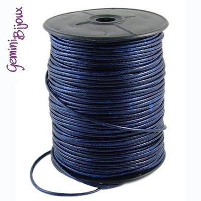 Lotto 1 mt. corda poliestere cerata mm. 2,3 blu scuro