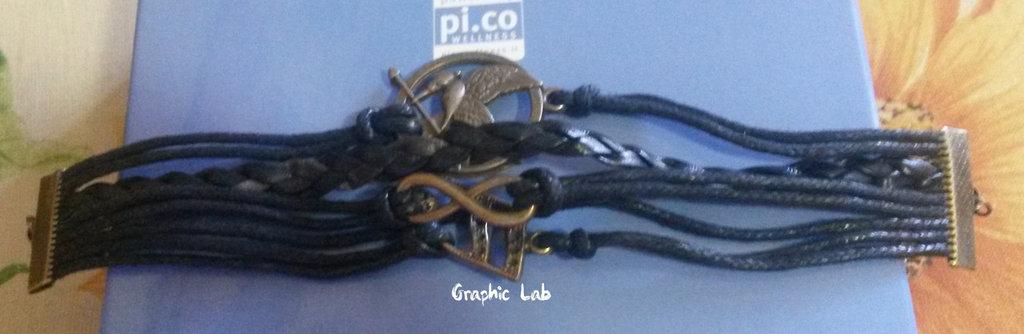 Bracciale Personalizzato in Pelle ed Alcantara Ghiandaia Imitatrice Hunger Games