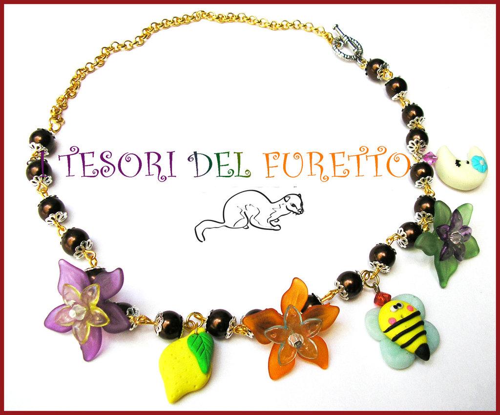 "Collana ""Vespina Kawaii"" ape fimo cernit fiori lucite estate idea regalo"