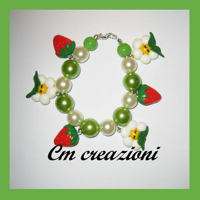 bracciale strawberries and daisies