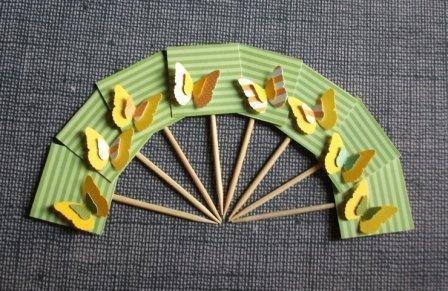 Muffin e CupCake Toppers^^ - Decorazioni per Dolci - Set 3D Farfalle in Verde^^ (lotto 8pz)