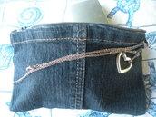 pochette in jeans con manico gioiello
