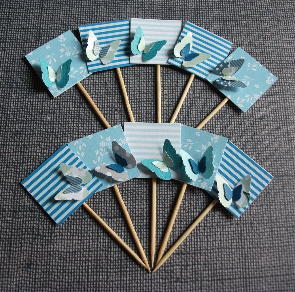 Muffin e CupCake Toppers^^ - Decorazioni per Dolci - Set 3D Farfalle in Blu^^ (lotto 10pz)