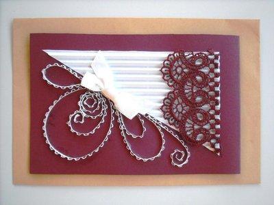 Idea Biglietto d'auguri Hand Made, in cartoncino e pizzo