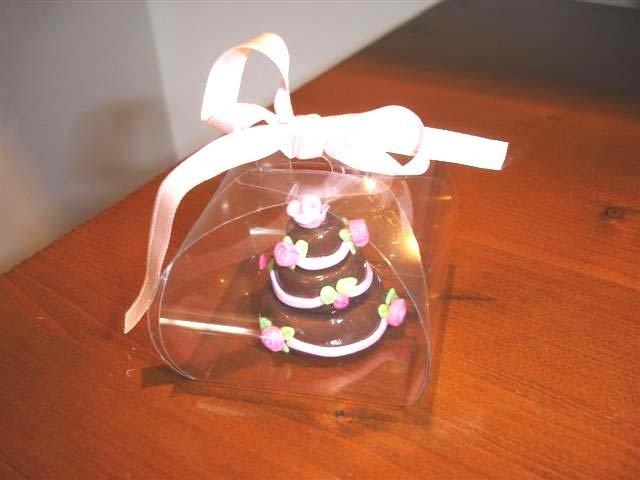ESEMPIO DI MINI WEDDING CAKE FIMO - ideale come  segnaposto  bomboniera  TORTA CIOCCOLATO con ROSE per matrimonio, compleanno battesimo SCEGLI TU COLORE e DECORO