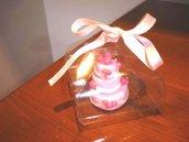 ESEMPIO DI MINI WEDDING CAKE FIMO - ideale come  segnaposto    bomboniera  TORTA ROSA con Boccioli ROSA per matrimonio, compleanno battesimo SCEGLI TU COLORE e DECORO