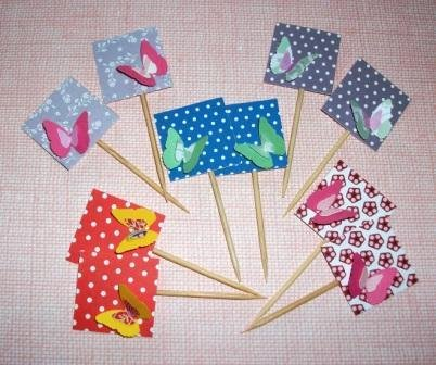 Muffin e CupCake Toppers^^ - Decorazioni per Dolci - Set 3D Farfalle Happy Mix Color^^ (lotto 10pz)