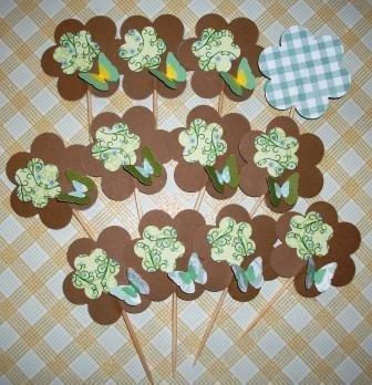 Muffin e CupCake Toppers^^ - Decorazioni per Dolci - Set Green Vintage Flowers^^ (lotto 12pz)