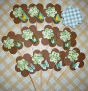 Muffin e CupCake Toppers^^ - Decorazioni per Dolci - Set Green Vintage Flowers^^ (lotto 12pz)