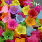 Lotto 10 fiori acrilico 15x10 mix di colori