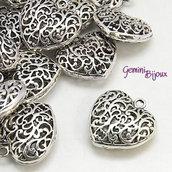 Ciondolo cuore 35x35, antique silver