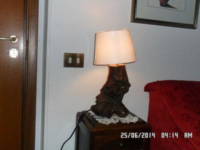 """LAMPADA IN LEGNO DI """" MARE"""" PARALUME DI COLORE A SCELTA"""