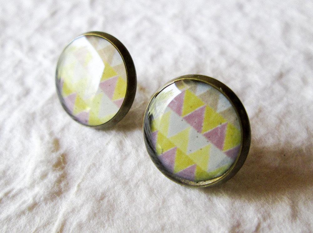 Orecchini in resina disegno geometrico inca