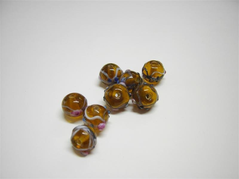 Perle in vetro tonde marrone chiaro