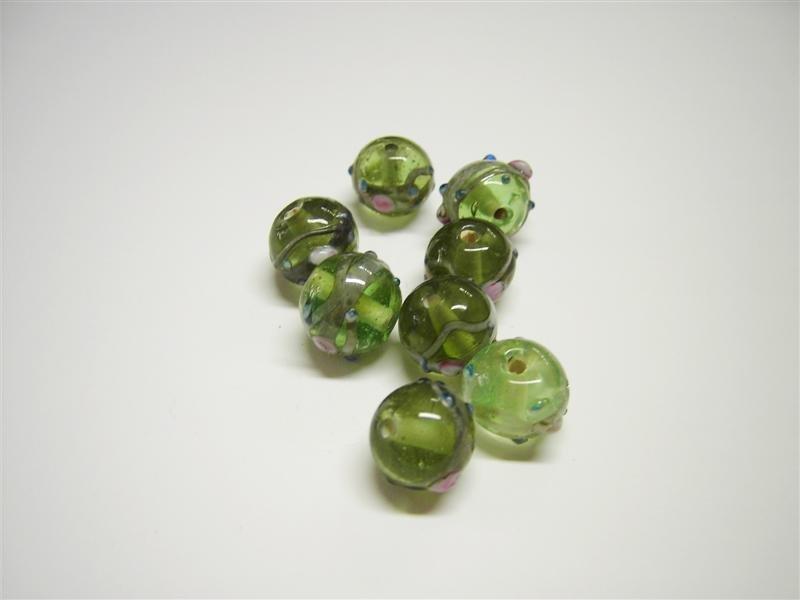 Perle in vetro tonde verde chiaro