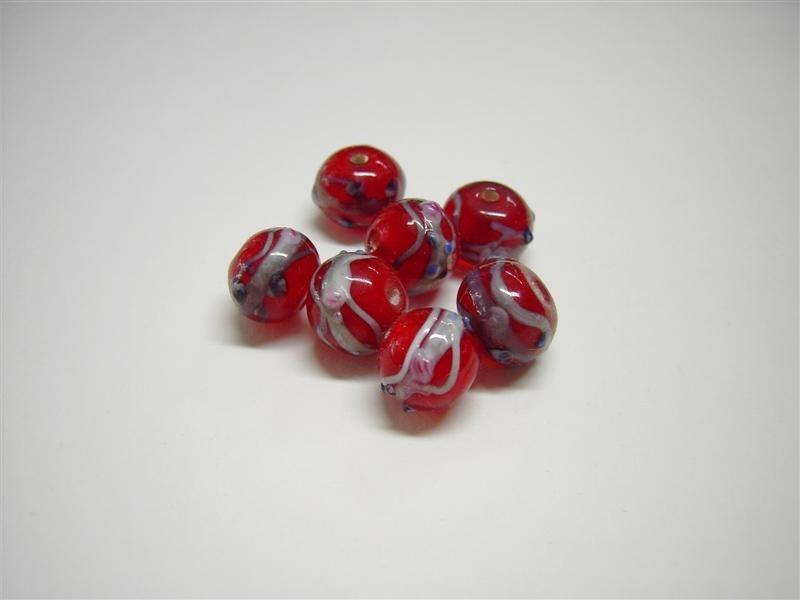 Perle in vetro tonde rosse