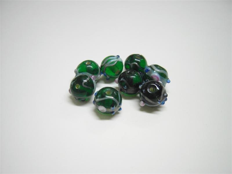 Perle in vetro tonde verdi