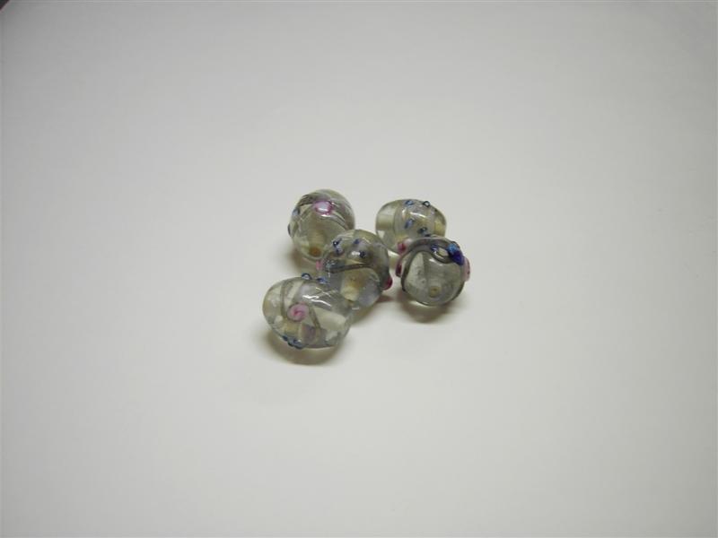 Perle in vetro ovali trasparenti