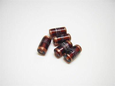 Perle in vetro cilindro marrone