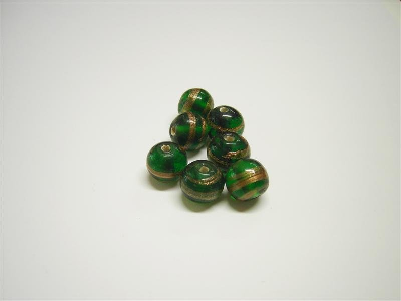 Perla in vetro tonda verde