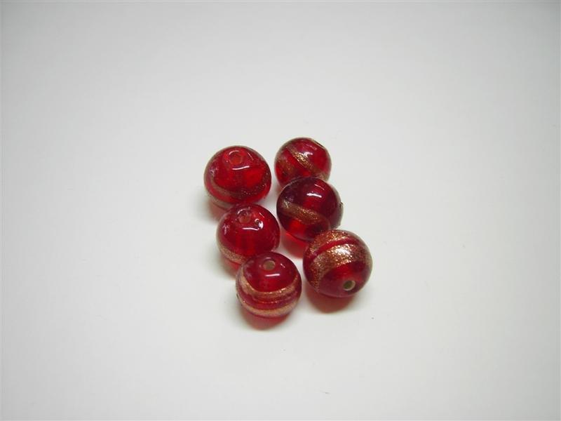 Perla in vetro tonda rossa