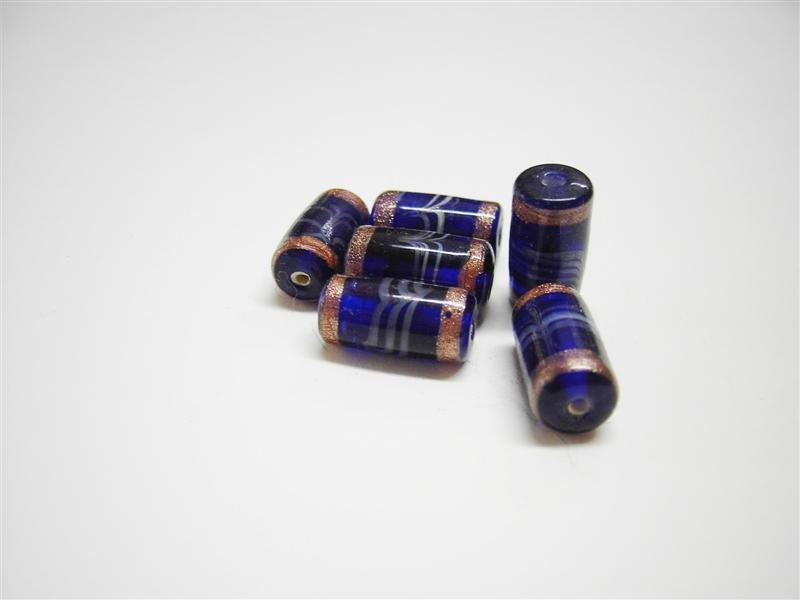 Perle in vetro cilindro blu