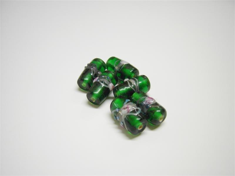 Perle in vetro cilindro verdi