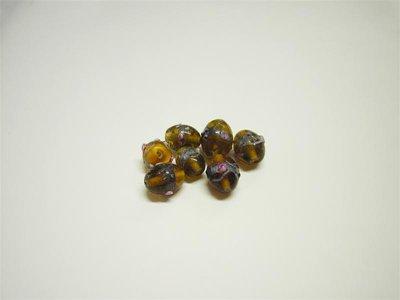 Perle in vetro ovali marrone chiaro