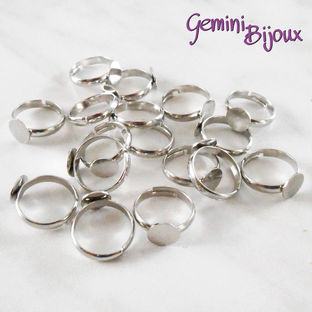 Base anello baby argentato regolabile