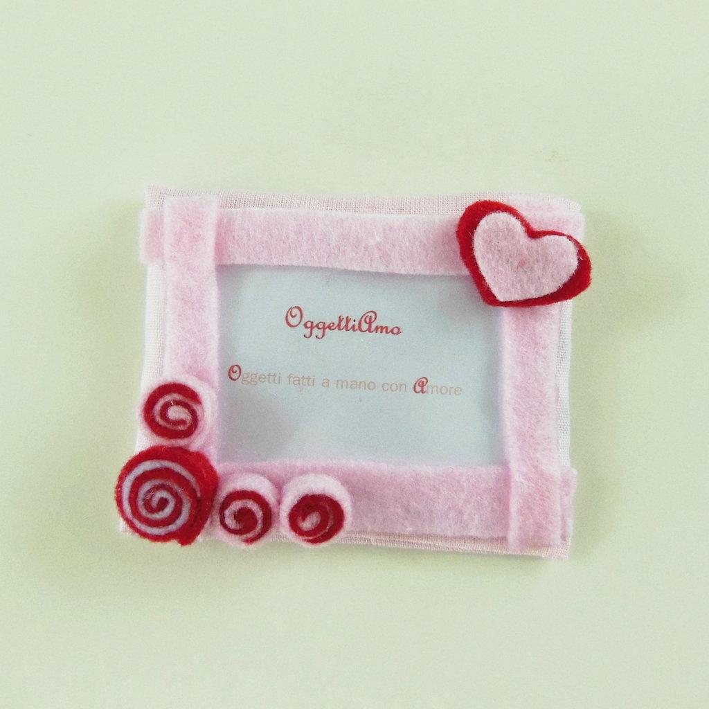 Bomboniere rosa per battesimo, nascita, comunione, cresima: le cornici in feltro con calamita per bambine!