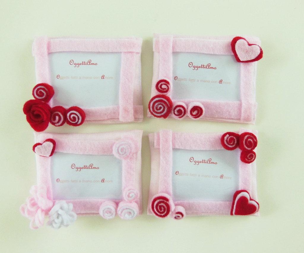 80 Cornici in feltro rosa e rosso: Bomboniere, calamite, idee regalo per ricordi che arredano!