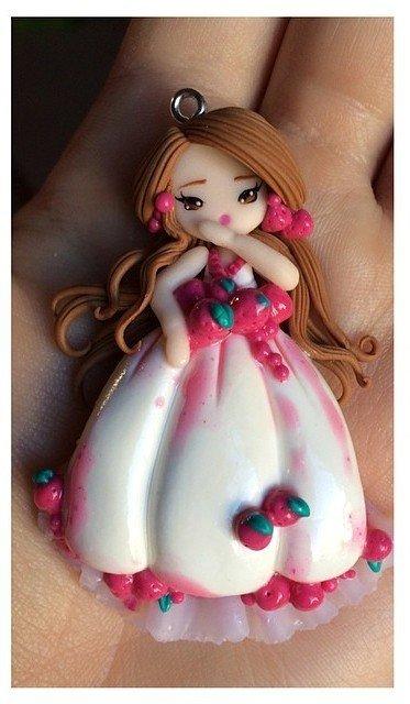 Collana bigiotteria fimo polymer clay handmade bambolina doll