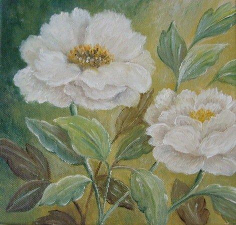 peonie dipinte su tela