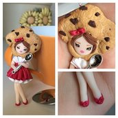 Collana bigiotteria fimo polymer clay handmade bambolina doll muffin
