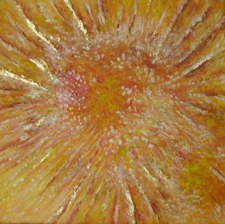 """""""l'inizio"""" dipinto su tela con foglia d'oro"""