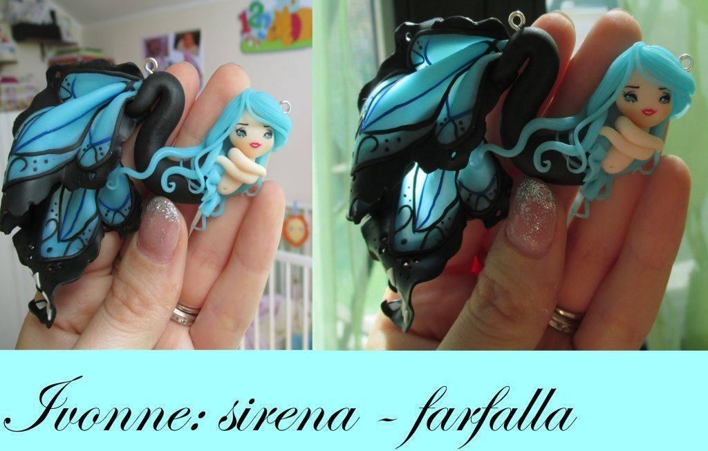 Collana bigiotteria fimo polymer clay handmade bambolina sirena doll