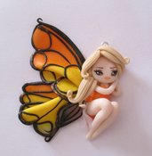 Collana bigiotteria fimo polymer clay handmade bambolina doll farfalla