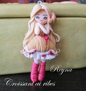 Collana bigiotteria fimo polymer clay handmade bambolina doll croissant ai ribes