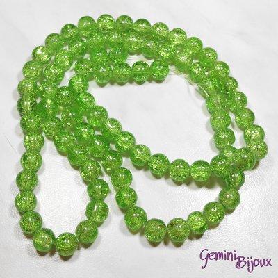 Lotto 10 perle tonde crackle 10mm verde brillante