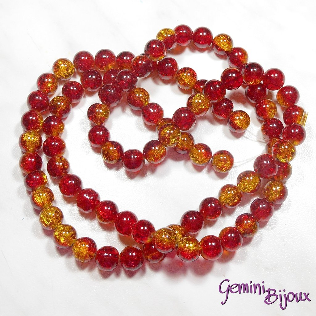 Lotto 10 perle tonde crackle 10mm rosso-oro
