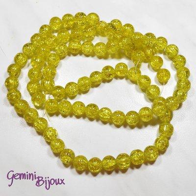 Lotto 10 perle tonde crackle 10mm giallo