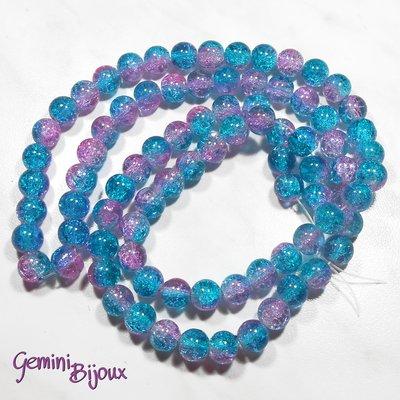 Lotto 10 perle tonde crackle 10mm azzurro-rosa