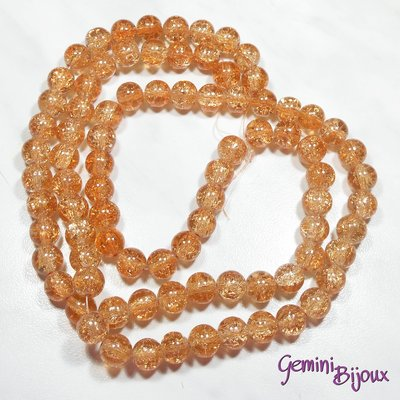 Lotto 10 perle tonde crackle 10mm rosa-arancio