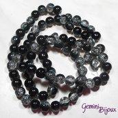 Lotto 10 perle tonde crackle 10mm nero-crystal