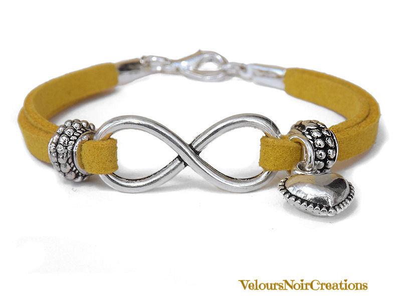 Bracciale simbolo infinito e cuore con distanziatori laccio giallo senape
