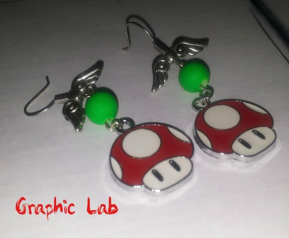 Orecchini Funghetto Up Videogames Super Mario
