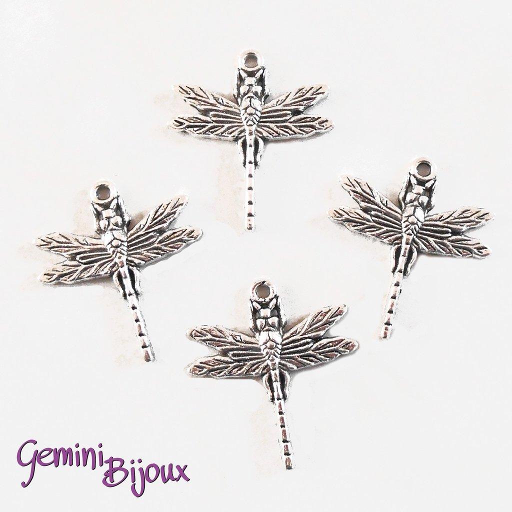Charm libellula argentato 28x32